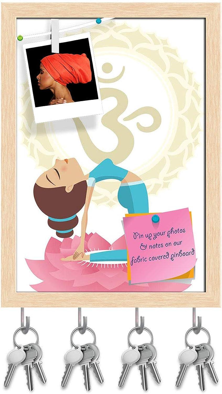 Artzfolio Camel Pose Asana Yoga Practice Key Holder Hooks   Notice Pin Board   Natural Brown Frame 12 X 16.9Inch