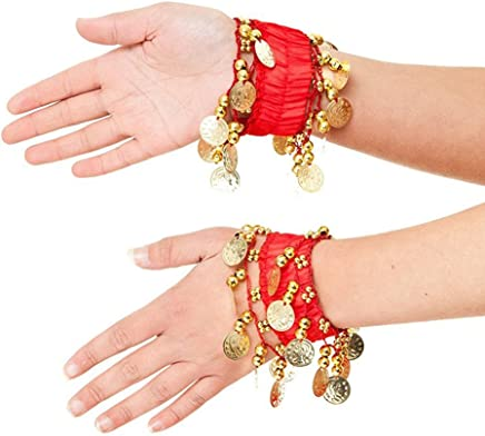 Belly Dance Bracelet Body Jewelry Wrist Cuff Ankle Chiffon Band With Coin 1 Pair (Red)