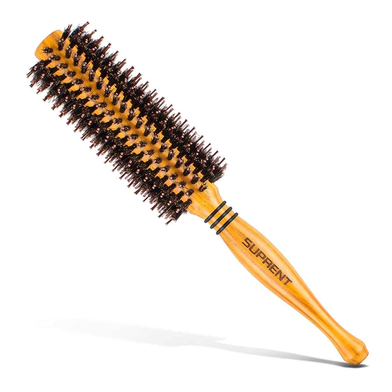 蜜糞マトロンロールブラシ/ヘアブラシ豚毛カール 木製櫛 スタイリングブラシ 巻き髪 静電気防止