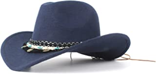 JAUROUXIYUJI New Fashion New Ladies Wool Western Cowboy Hat Suitable for Wide-Brimmed Cowgirl with Fringe Tape (Color : Navy Blue, Size : 56-59cm)
