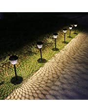 Solar Pathway Lights Outdoor 6 Pack Solar Garden Lights Solar Powered Waterproof Solar Lights Outdoor Garden Metal Led Landscape Stake Light Garden Ornaments for Walkway Path Lawn Patio Yard Bronze