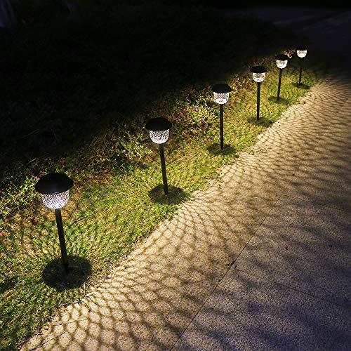 Solar-Wege-Leuchten Outdoor 6er-Pack Solar-Gartenleuchten solarbetriebene wasserdichte Pfähle dekorative LED warmweiße Landschaft Licht Garten Geschenke Garten Ornamente für Gehweg Terrasse Rasen