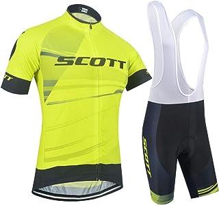 XIAKE Conjunto de Ropa de Ciclismo para Hombre, Maillots de Manga Corta para Bicicleta con Pantalones Cortos de Bicicleta