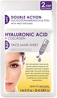 Skin Republic Two Step Hyaluronic acid plus Collagen Face Mask Sheet - 28 ml