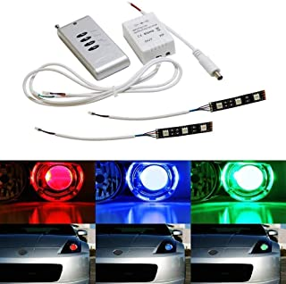 iJDMTOY (2) 3-SMD-5050 RGB LED Demon Eye w/Remote Control For Car Motorcycle Projector Headlight Demon Eyes Retrofit