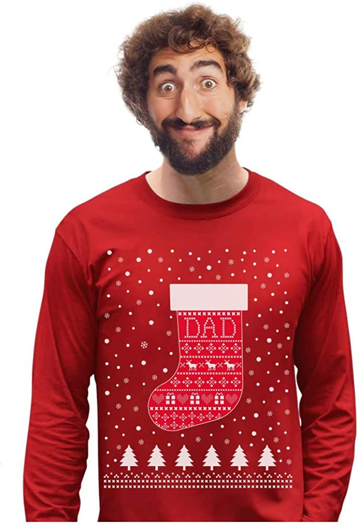 Family Xmas Gift Sock Long Sleeve T-Shirt Ugly Christmas Sweater for Dad