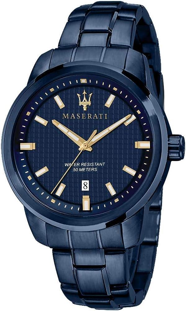 Maserati orologio da uomo, collezione blue edition, in acciaio, pvd blu 8033288907077