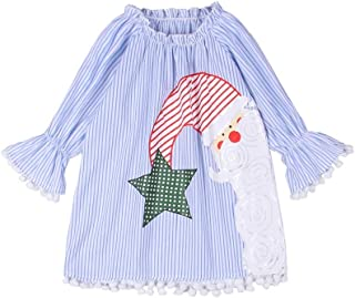 MODNTOGA Christmas Toddler Baby Girl Dress Kids Long Sleeve Ruffle A-Line Dresses Santa Cartoon Striped Party Princess Dress