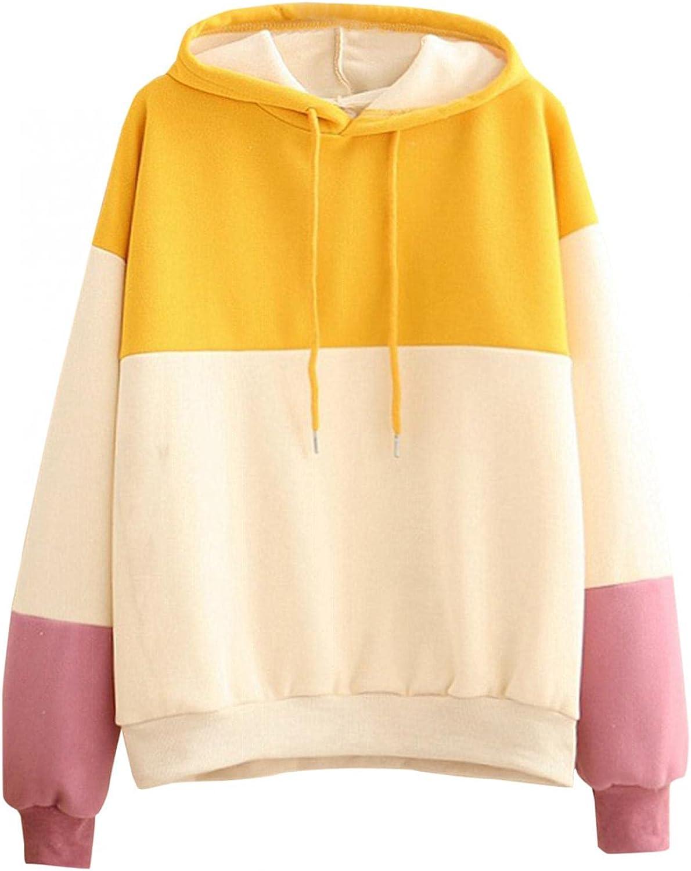 Hoodies for Teen Girls Women Sweatshirt, Women's Pullover Patchwork Sweatshirts Casual Tunics Oversized Workout Tops