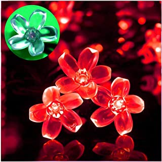 Semintech Solar Powered String Lights Outdoor Waterproof 50LED Peach Blossom Xmas Decorations for Garden Patio Red