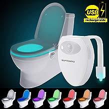 USB Recargable WC Luz De Noche - 8 Color Sensor de Movimiento luz LED Automática Inodoro luz para Baño, Hotel, Cafe Bar, Facil De Usar 100% Impermeable (Recargable WC)