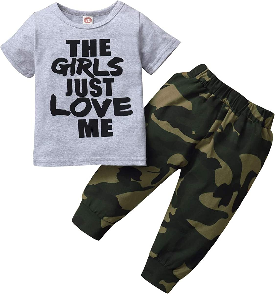 Baby Boys Camouflage Hooded Sweatshirt Outfit The Girl Just Love Me Top Pants Set