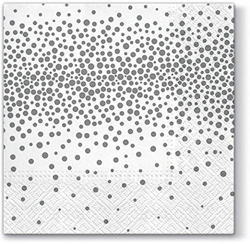 20 Servietten Konfetti silber/Muster/neutral/zeitlos 33x33cm