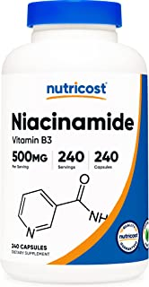 Niacinamide (Vitamin B3) 500mg, 240 Capsules - Non-GMO, Gluten Free, Flush Free Vitamin B3