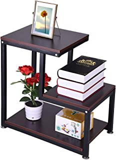 Small Nightstand Bedside Table End Table with Fabric Drawer for Bedroom, Rustic End Table 3-Tier Chair Side Table Night Stand With Storage Shelf (23.6 x 13.8 x 23.6 inches (60x35x60 cm), Brown)