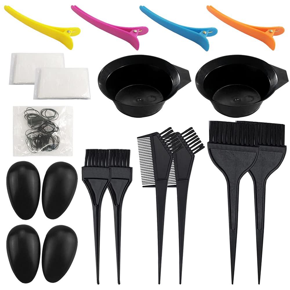 21 Packs Hair Dye Coloring Kit, Sonku Dye Brush Comb Mixing Bowl Ear Caps Shower Cap Apron Sectioning Clips and Hairbands for DIY Salon Hair Dye Tool