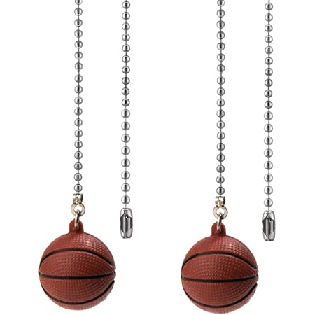 Nickel Ceiling Fan Chain Pulls Decorative Extension 12 Inches Baseball and Basketball Ornaments Pendant Fan Pulls Set For Ceiling Light Lamp Fan Chain