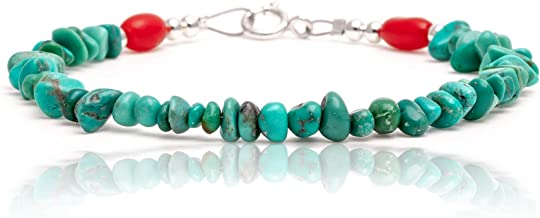 $70 Tag Natural Turquoise and Coral Silver Certified Authentic Navajo Native American Link Bracelet