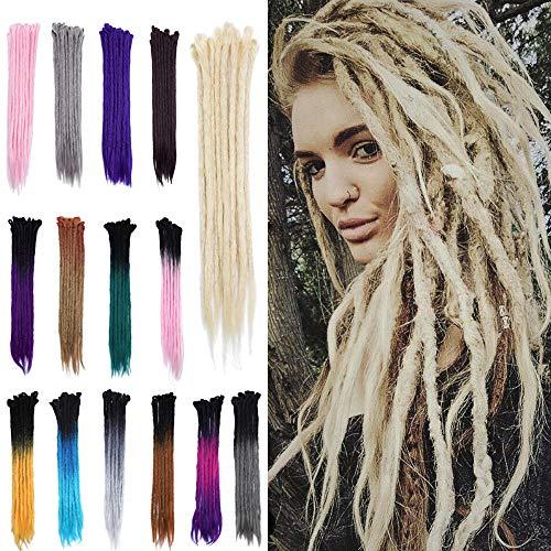 20' Dreadlock Extension Ombre For Hip-Hop Synthetic Heat Resistant Crochet Braiding Hair Handmade Reggae Extension Twist Braiding Hairpiece Box Braid For Man Women(15strands/3packs,bleach blonde)