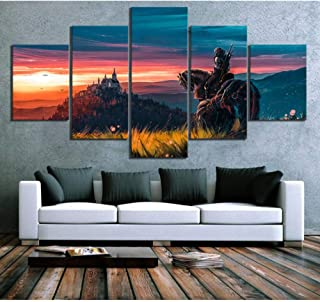 Alasijia Canvas Painting Home Decoration 5 Pieces The Witcher 3 Wild Hunt Game Wall Art Prints Pictures Modular Poster for Living Room-20CMx35/45/55CM
