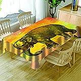 Mantel con Estampado De Elefante Morado Verde Azul Mantel Lavable Impermeable Y A Prueba De Aceite Paño De Mesa De Centro Engrosado Rectangular Redondo