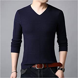 jimwili Sweater Men Knitted Cotton Wool Pullover Autumn Winter Casual Striped V Neck Pull Long Sleeve Shirt,Blue,4XL