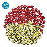 ZOEON 100 Pezzi Adesivo Coccinella di Legno e 100 Pezzi Adesive in Api Legno Decorazioni
