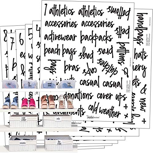 Talented Kitchen 224 Closet, Clothing, Shoes & Sports Labels. 224 Script Label Stickers. Water Resistant. Decals Storage Organization for Bins Baskets & Containers (Set of 224-Closet Clothing & Shoes)