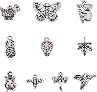 PH PandaHall 80pcs 10 Style Antique Silver Tibetan Alloy Animal Plant Fruit Charms Pendants for DIY Bracelet Necklace Jewelry Making(Koala, Dragonfly, Butterfly, Bees, Maple Leaf, Strawberry)
