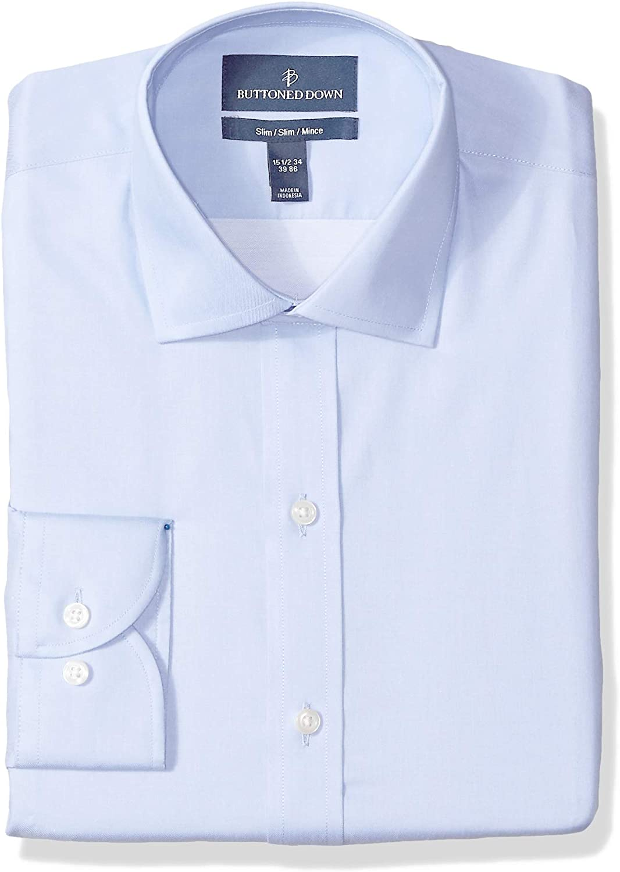 Plaid/&Plain Men/'s Slim Fit Dress Shirts Spread Collar Poplin Shirt Wrinkle Free Shirts