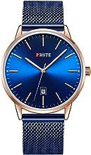 PHSTE Men's 40mm Watches 7.2mm Slim Case Date Luminous Waterproof Quartz Wrist Watch Stainless Steel Mesh Band