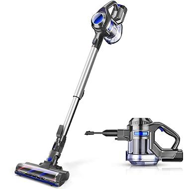 MOOSOO Cordless Vacuum, 4 in 1 Powerful Suction Stick Vacuum 1.3L Capacity for Home Hard Floor Carpet Car Pet Lightweight XL-618A