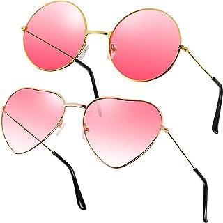 2 Paare Rosa Hippie Sonnenbrillen Retro Hippie Stil Sonnenbrillen Hippie Kostüm Sonnenbrillen Herren Damen Brillen (Rund u...