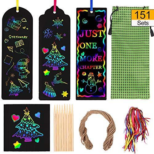 Miuse - Segnalibri da graffiare in carta arcobaleno, segnalibri fai da te, bigliettini regalo, con nastri di raso e strumenti per grattare, per bambini, studenti, feste e attività scolastiche