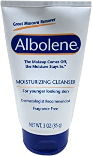 Albolene Moisturizing Cleanser Travel Size Squeeze Tube, Fragrance Free, 85 g/3 oz.