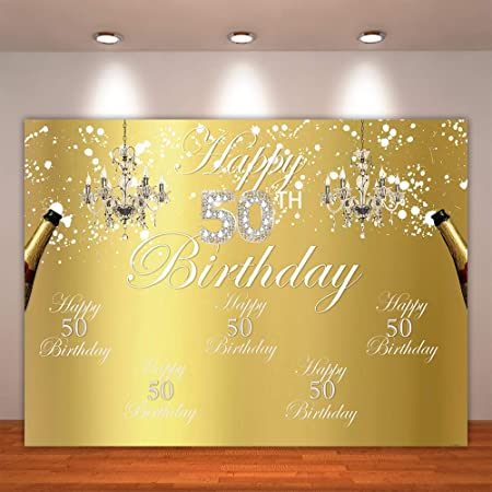 AOFOTO 7x7ft Happy 50th Birthday Background 50 Years Old Party Decoration Photography Backdrop Abstract Shiny Stars Glitter Spots Banner Adult Man Woman Bday Photo Studio Props Vinyl Wallpaper
