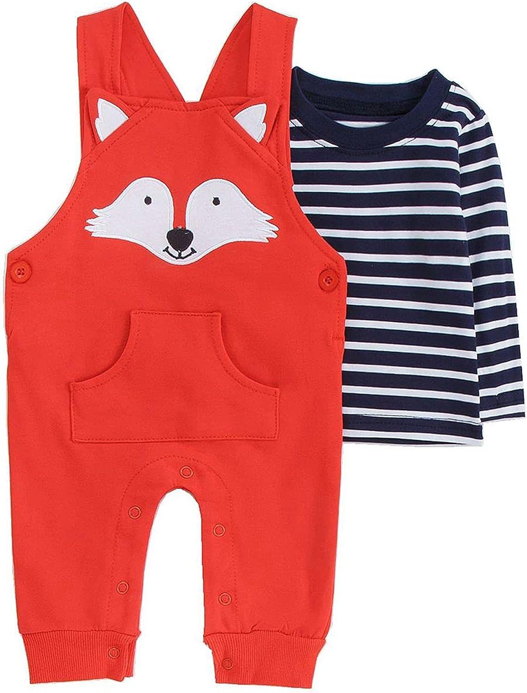 Baby Gumpsuit Cartoon Embroidery Suit,Long-Sleeved T-shirt + Cartoon Suspender Pants