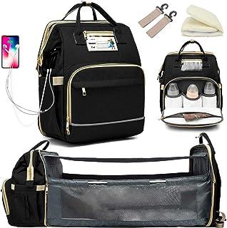 کوله پشتی کیف پوشکی کودک Granrouto با تغییر ایستگاه ، کیسه پوشک قابل حمل مسافرتی برای کودک ، کوله پشتی قابل ارتقا با پورت شارژ USB ، ظرفیت بزرگ برای ملزومات نوزاد ، سیاه