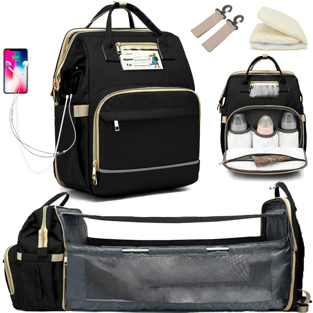 Granrouto Baby Diapers Bag Mommy Bag,Diaper Bags Backpack with Foldable Baby Crib,Portable Newborn Diaper Bags Crib 3 in 1 Shower Diapers Cover with USB Charging Port,Newborns Great Gift (Black)