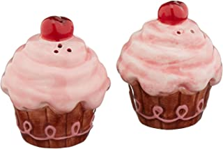Appletree Design Life Is Sweet Pink Cupcake Salt and Pepper Set, 2-1/2-Inch