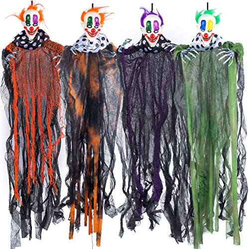 Payasos Colgantes de Halloween de 74 cm (4 Pack) de Varios Colores, Decoración Espantosa de Halloween para Casa Embrujada, al Aire Libre