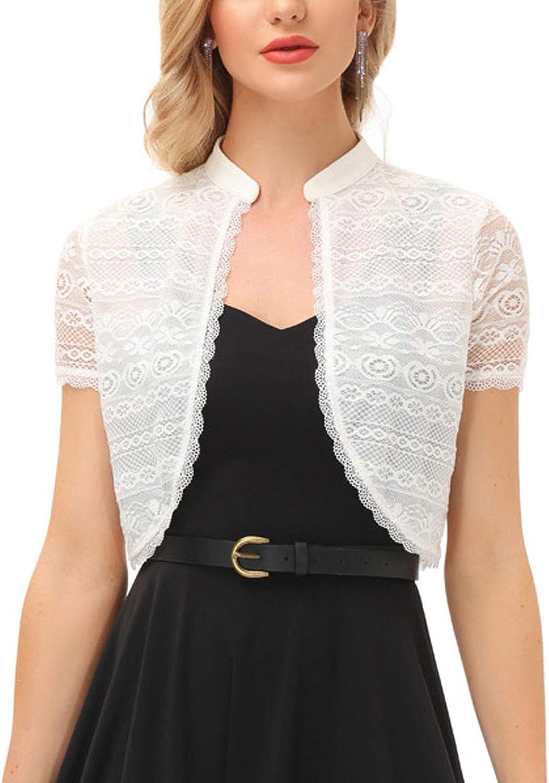 KANCY KOLE Women Lace Shrugs Short Sleeve Cropped Cardigan Casual Vintage Bolero Jackets S-XXL