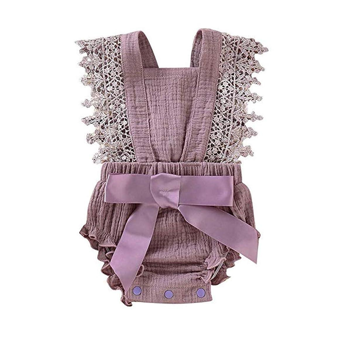 Newborn Baby Girl Ruffle Romper Lace Sleeveless Bodysuits Bowknot Jumpsuit Sunsuits