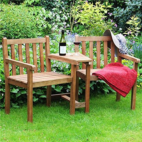 BillyOh Jack 'N' Jill Wooden Companion Love Seat, 2 Seater Garden Bench with Table