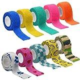 10 rotoli di bendaggio autoadesivo, 2,5 cm di larghezza x 5 m di lunghezza, bendaggio elastico morbido e traspirante, fascia elastica adatta per proteggere lo sport, distorsioni articolari e gonfiore
