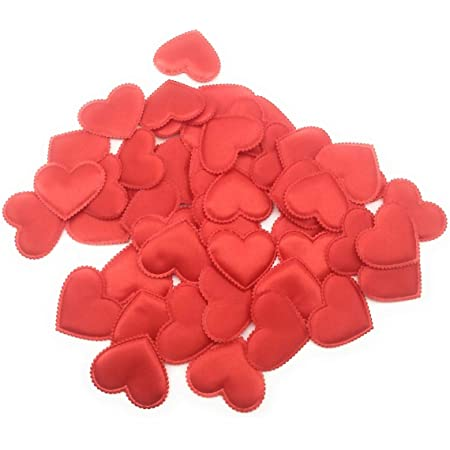 SATYAM KRAFT Pack of 50 Satin Fabric Heart Shaped Confetti Wedding Table Romantic Decorations Wedding Throwing Petals - Red for Christmas Decoration Valentines, Baby Shower, Craft (4.5 cm)