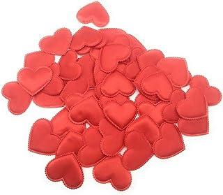 SATYAM KRAFT Pack of 50 Satin Fabric Heart Shaped Confetti Wedding Table Romantic Decorations Wedding Throwing Petals - Re...