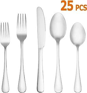 25 Piece Silverware Set,Premium Stainless Steel Flatware Set,Mirror Polished Cutlery Utensil Set,Durable Kitchen Eating Tableware Set Service for 5,Include Fork Knife Spoon Set,Dishwasher Safe