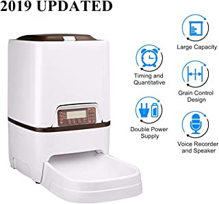 Docamor 6L Automatic Pet Feeder Dogs Cats Food Dispenser with Voice Recorder and Speaker,Timer Programmable,Infrared Sensor Detecting,LCD Display,Portion Control,Distribution Alarm Up to 4 Meals a Day