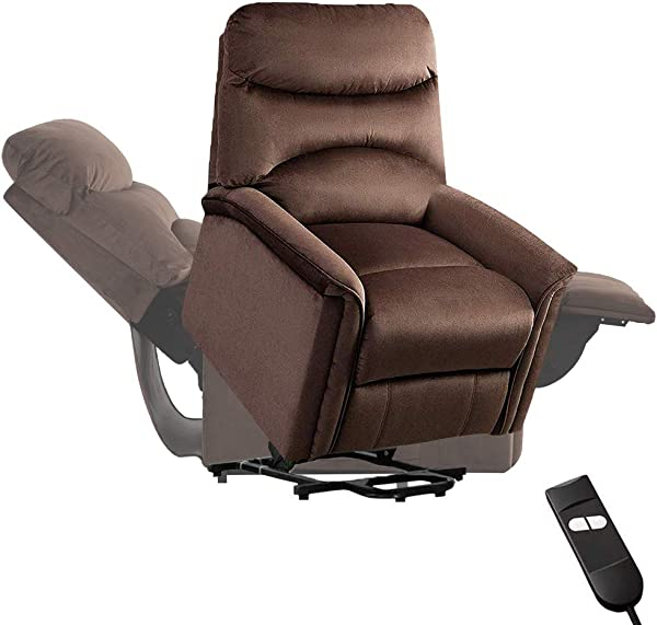 Bonzy 家用电动升降椅电动升降躺椅沙发休息室 90 到 150 度可调加厚座椅带袋头枕靠背脚凳生活游戏化妆办公室巧克力